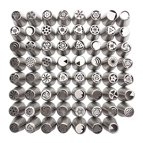 Russian Piping Tips 304 Stainless Steel Large Size Icing Syringe Set DIY Icing Nozzles for Making Buttercream Flowers on Cakes and Cupcakes, 63Pcs/ Set