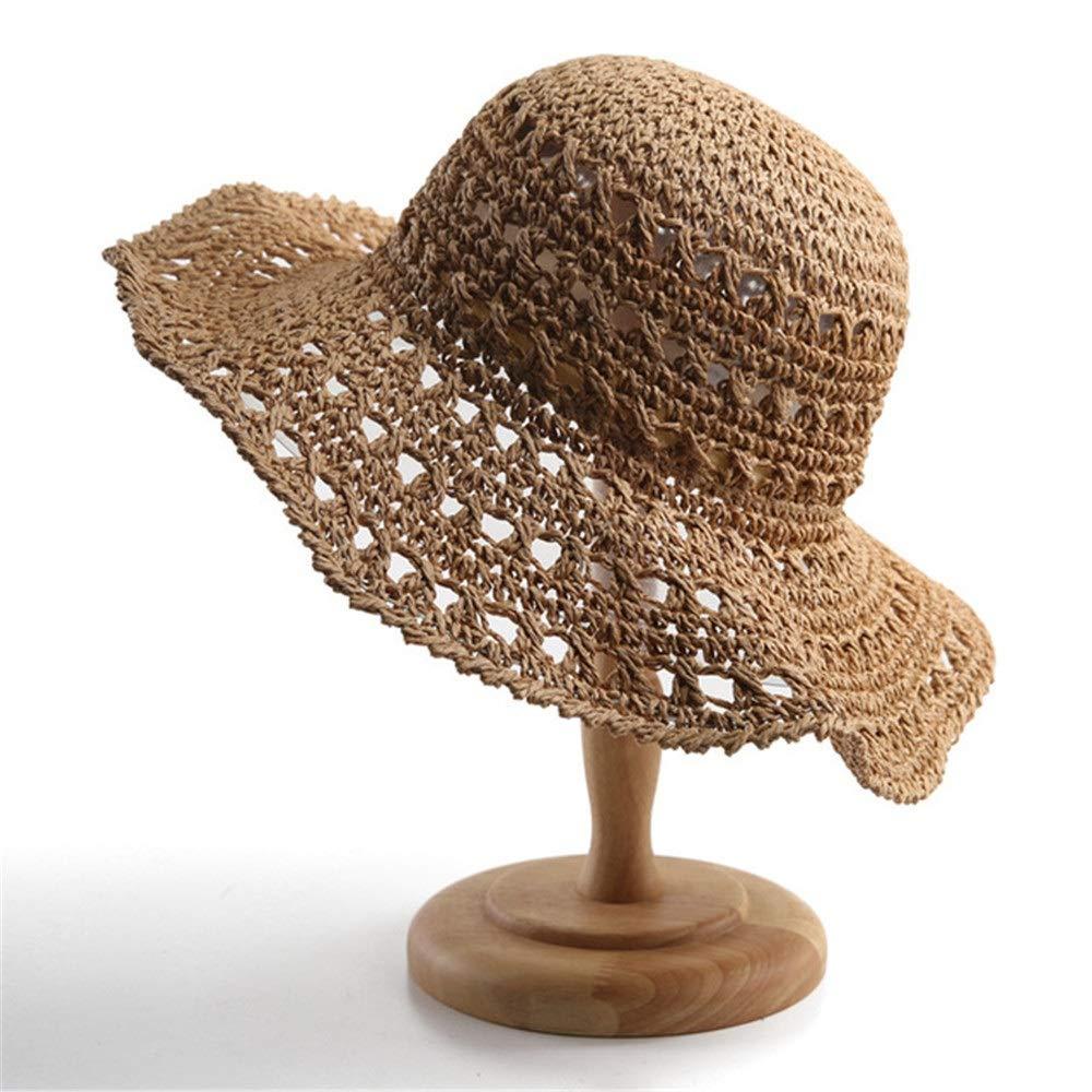 FridCy Women Summer Beach Hat Sun Hat Hollow Visor Foldable Woven Curled Sash Hat Visor Hat