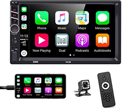 Amazon Com Double Din Car Stereo In Dash Car Radio With Bluetooth 7 Inch Hd Touchscreen Auto Radio Support D Play Mirror Link For Android Ios Phone Fm Usb Tf Aux In Rca With Backup Camera Remote Control Electronics