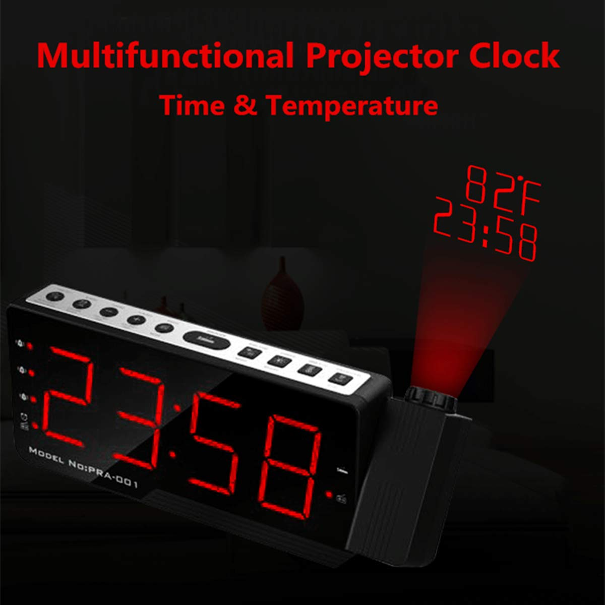 Generic Alarm Clock Projector LED Digital Display Temperature ...
