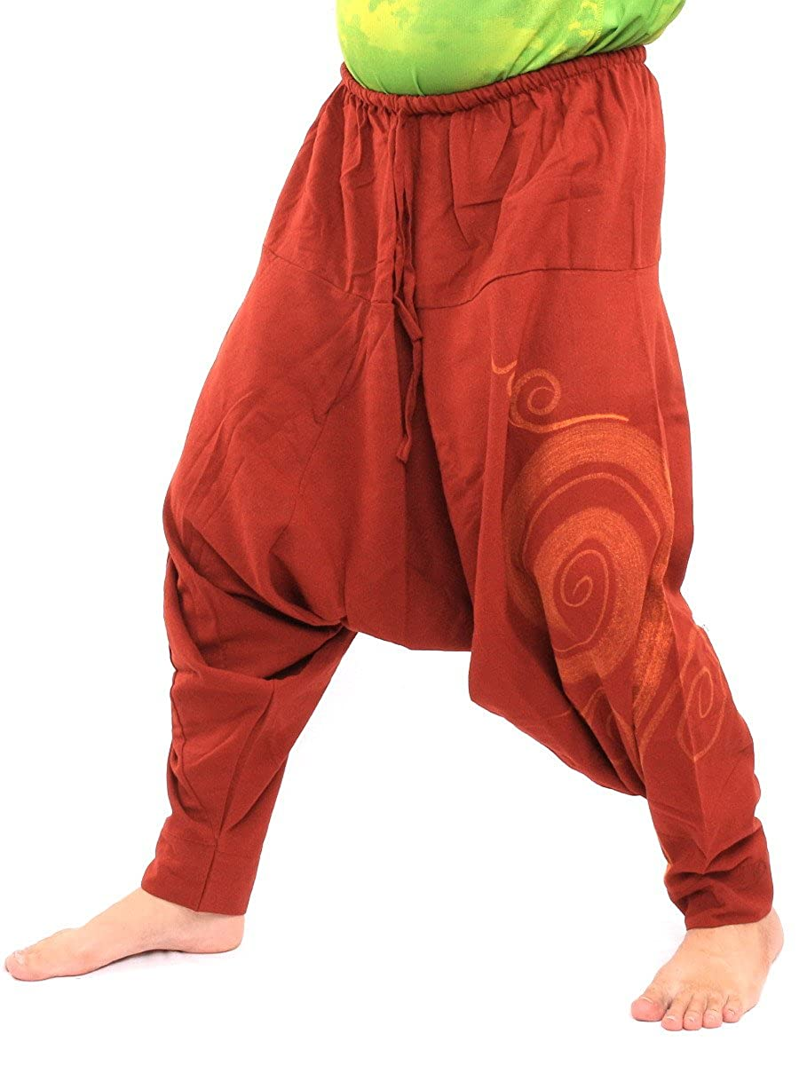 jing shop Harem Pants Cotton with Swirl Print Unisex for Men and Women