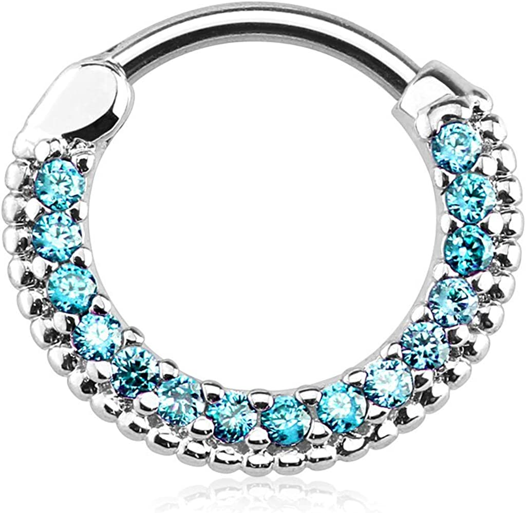 Forbidden Body Jewelry 16g 10mm Rounded Top Pave Lined CZ Crystal Clicker Hoop for Septum and Cartilage Piercings