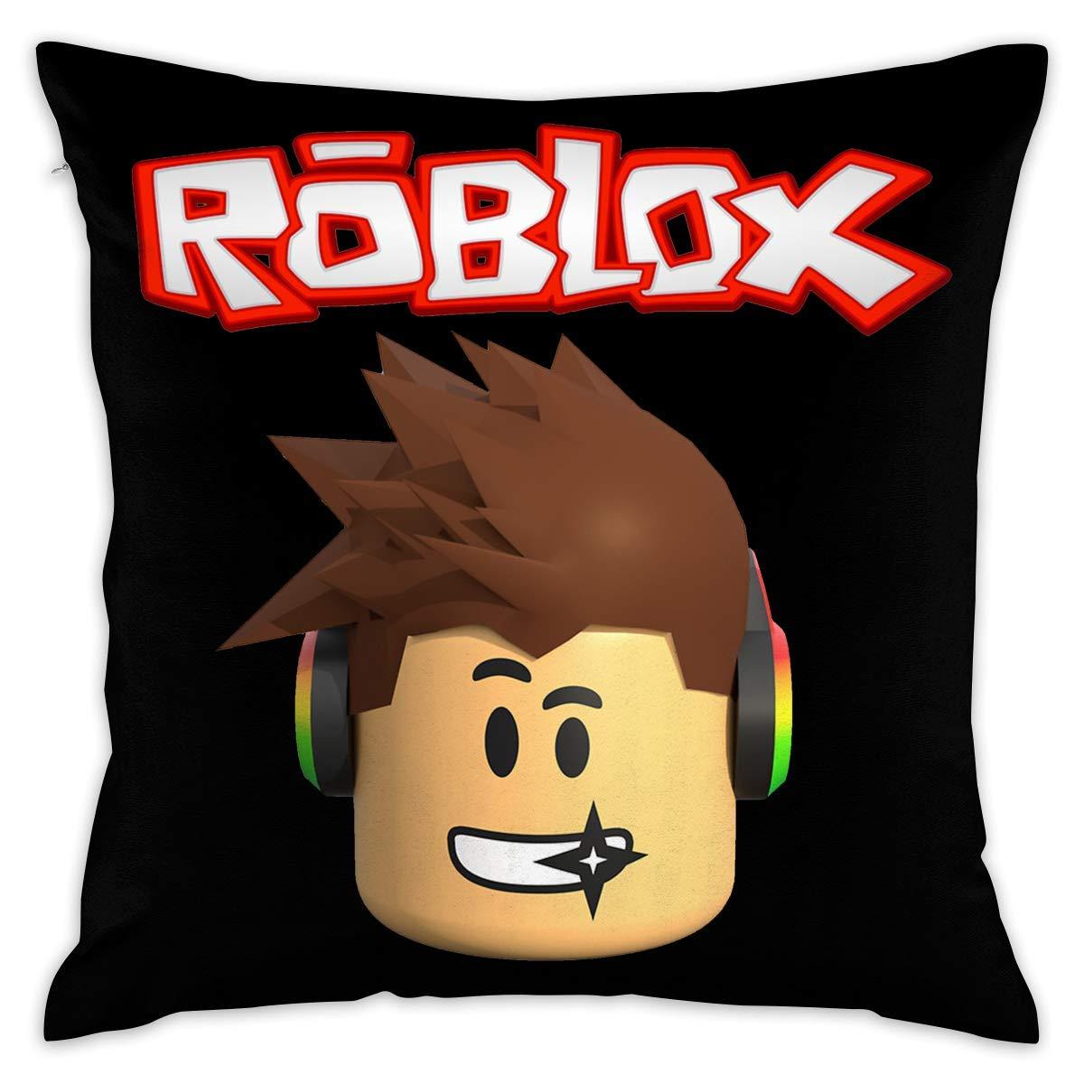 SWARON Roblox Character Head Video Game Graphic Decorative Lumbar Pillow Covers Case Pillowcases Fundas para Almohada (45cmx45cm)