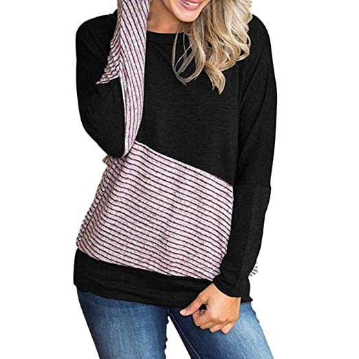 a437721ef9bd65 iZHH Fashion Womens Shirt O-Neck Striped Print Color Block Top Patchwork T- Shirt