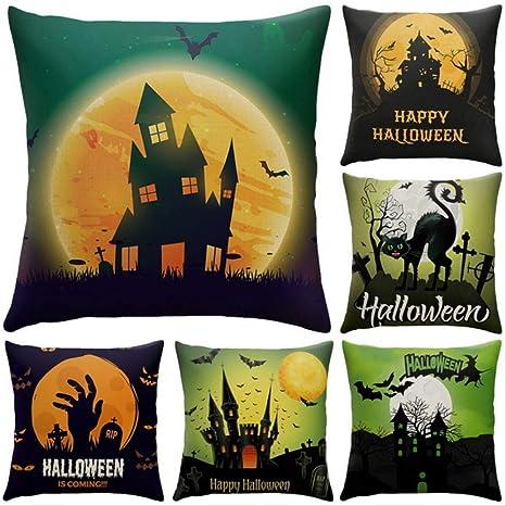 AINIYUE Fundas de Almohada de Halloween Feliz Halloween ...