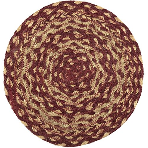 VHC Brands Classic Country Primitive Tabletop & Kitchen - Burgundy Tan Jute Red Trivet, 8