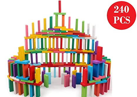 Blossom Pack of 2 (120 PCs Each Pack) Colorful Wooden Domino Set for Kids Colourful Wooden…