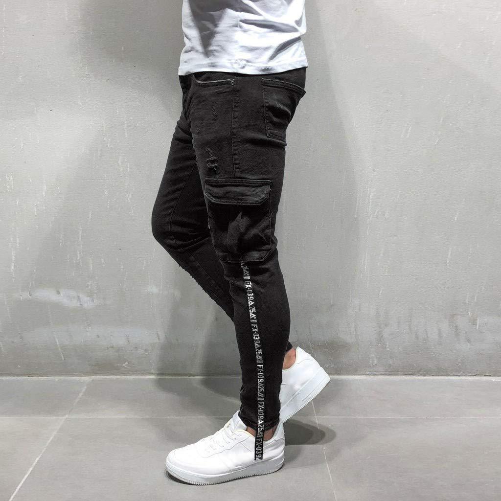 Sunyastor Men's Stretchy Ripped Skinny Biker Jeans Slim Fit Denim Pants Destroyed Hole Distressed Jeans with Pocket Black by Sunyastor men pants (Image #4)