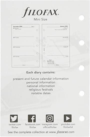 Black Boxes Personal Size FiloFax 68410-OS-2018 For 2018 Month On Two Pages Diary