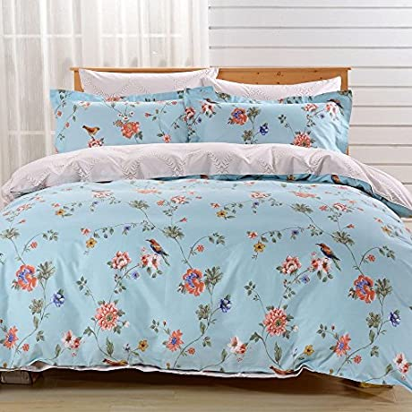 6 Piece Floral Tropical Birds Design Duvet Cover Set Queen Size Featuring Botanical Blooming Flowers Petal Blossom Bedding Animal Print Reverse Leaf Pattern Elegant Nature Lover Motif Blue Multi