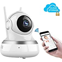 Security Camera WiFi IP Camera 1080P Wireless Home Surveillance Camera WiFi Dog/Baby Monitor with Cloud Storage Live Steam Night Vision Pan/Tilt Two Way Audio 1Meter Power Cable