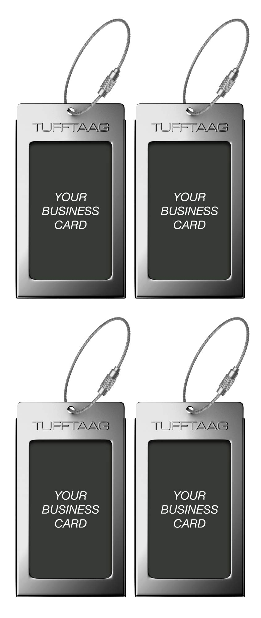 Luggage Tags TUFFTAAG for Business Cards, Metal Suitcase Labels, 4 Pack Bundle (4 Gunmetal) by ProudGuy