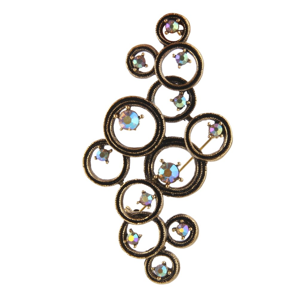 Antique Bronze Rhinestone Circle Brooch Pin for Bags Clothing Scarf Gold STK0113013855