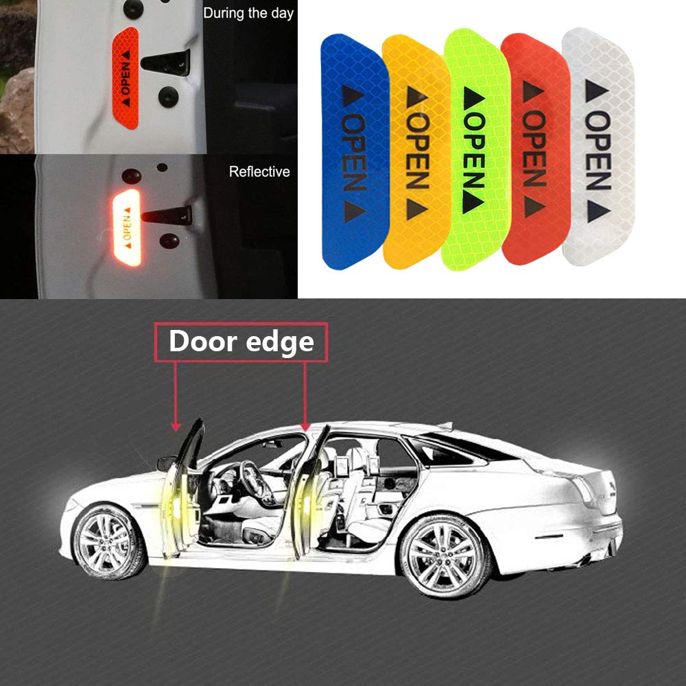 Trader-V 4Pcs Universal Open Auto Decals Reflective Warning Strip Tape Sign Stickers Safety Car Door Sticker Anti-Collision Warning Mark Blue
