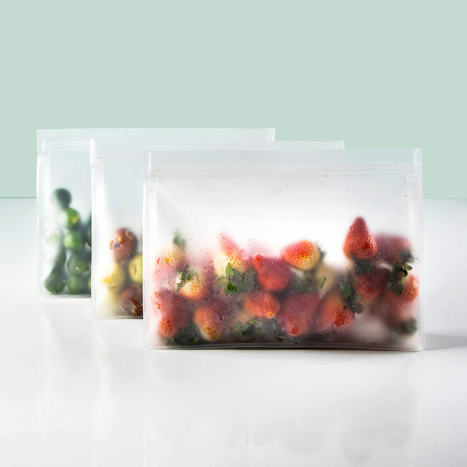 MAXCOOK Reusable Storage Bag, Sandwich Lunch Bags BPA FREE Thicken Leak Proof Reusable Food Bags, Freezer Bags, and Plastic Free Ziplock Lunch Bags for Food Marinate Meat Fruit Cereal, Medium Size