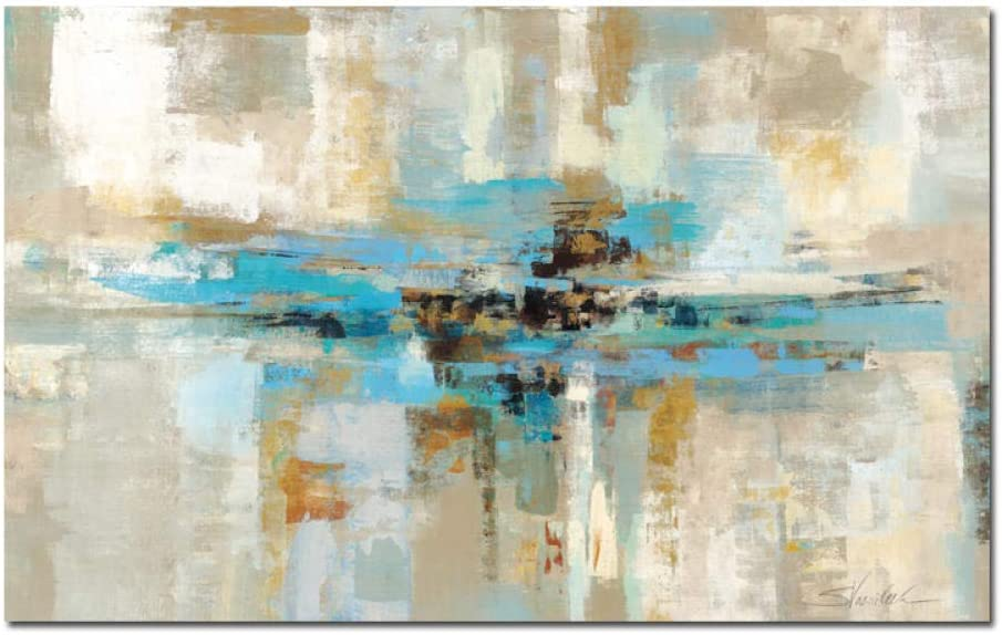 Cuadro grande de color azul claro abstracto en lienzo, póster e impresión Dormitorio moderno de pared para sala de estar 80x130cm sin marco