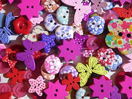 100 Knöpfe Kinderknöpfe viele verschiedene Formen, Motive, Materialien und Größen