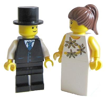 NEW CUSTOM LEGO WEDDING BLACK HAIR BRIDE AND GROOM MINIFIGS Zabawki konstrukcyjne LEGO Zabawki konstrukcyjne MINIFIGURES