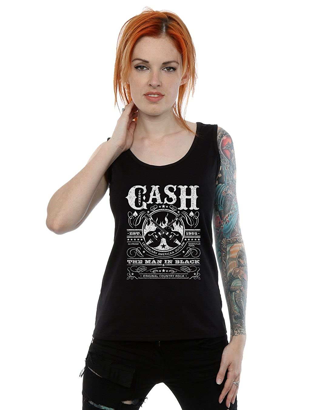 fe1580d1d52096 Johnny Cash Women s Whiskey Label Tank Top at Amazon Women s Clothing store
