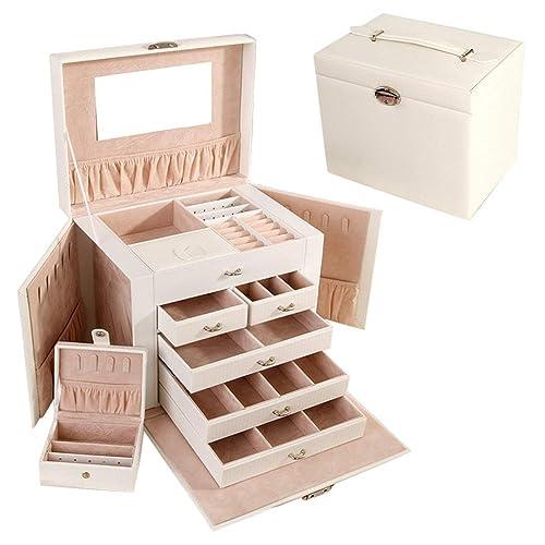 Cajas para Joyas Caja Joyero Caja para Anillos con Bandejas Bolsas para Joyas Alta Capacidad En