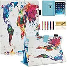"Dteck iPad 9.7 Inch 2017 / iPad Air 2 / iPad Air Case - Multi-Angle Folio Stand Cover with Auto Sleep/Wake Function Wallet Protective Case for Apple iPad 9.7"" 2017 Release, iPad Air 1 2,World Map"