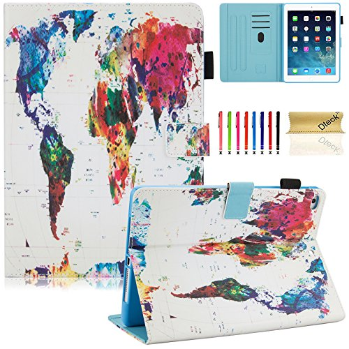 Dteck iPad 9.7 Inch 2018 2017 / iPad Air 2 / iPad Air Case - Multi-Angle Folio Stand Cover with Auto Sleep/Wake Function Wallet Protective Case for Apple iPad 9.7 inch 2017/2018,iPad Air 1 2,World Map from Dteck