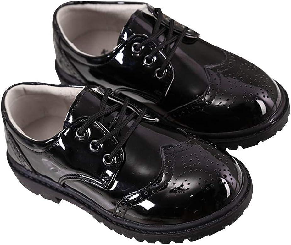 Daytwork Zapatos para Niño Mocasines - Encaje Smart Brogues Oxford Escuela de la Boda Patentes de Cuero Esmoquin Negro Estilo Británico Niños: Amazon.es: Zapatos y complementos
