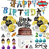 Magical Wizard Birthday Party Supplies Decorations, Harry Style Wizard School Glasses Birthday Banner, Balloons, Tattoos Stickers, Cupcake Toppers, Halloween Spooky Theme Decor Stuff for Girls 100pcs