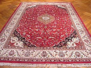 Hand Knotted Carpet Red Blue /'Gyapriya/' Indian Handmade Area Wool Rug 4x6 ft