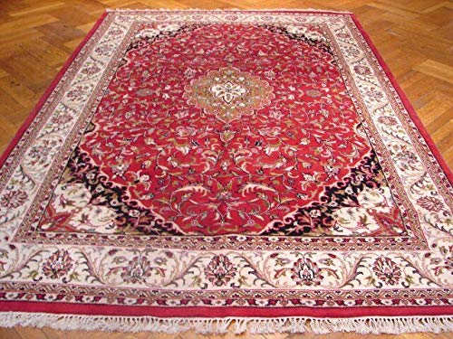 Jaipur Persian Design New Indian Rug 7' x 9' Soft Wool Red Hand-Knotted Rug