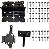 ZEKOO Gate Hinges Self-Closing for Vinyl gate kit and PVC Fences with Latch Black Color
