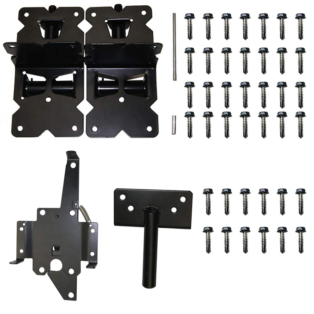 ZEKOO Gate Hinges Self-Closing for Vinyl and PVC Fences with Latch Black Clour