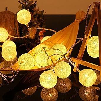 ELINKUME® LED cadena ligera con 20 bolas de algodón, De color blanco luminoso caliente, Operado con pilas, cuerda de la lámpara del Lampion 3.3M para la decoración, rosa [Clase de eficiencia energética A]