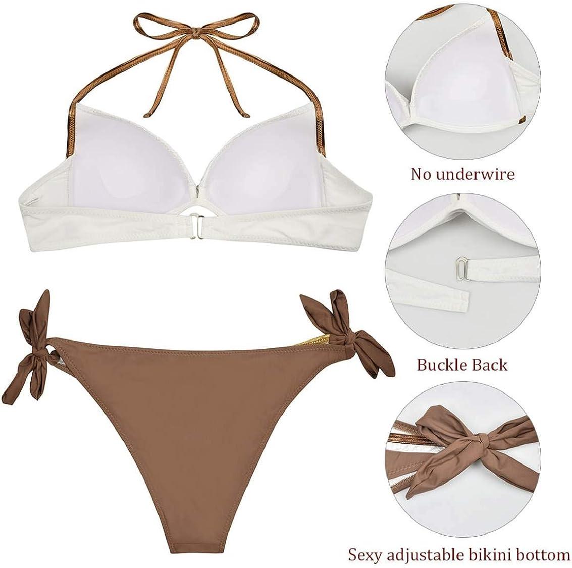 heekpek Femme Maillots de Bain 2 Pi/èces Bikinis Dos Nu Taille Bas Push-up Rembourr/é Bikini Bandage Bikini Ensemble Rembourr/é Bikinis Triangle