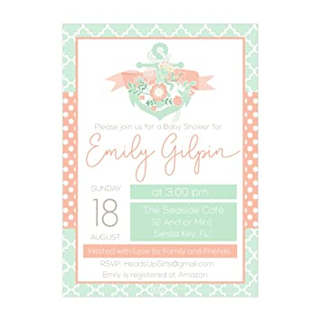 Amazon set of 12 customizable personalized baby shower set of 12 customizable personalized baby shower invitations and envelopes with nautical anchor with flowers in filmwisefo