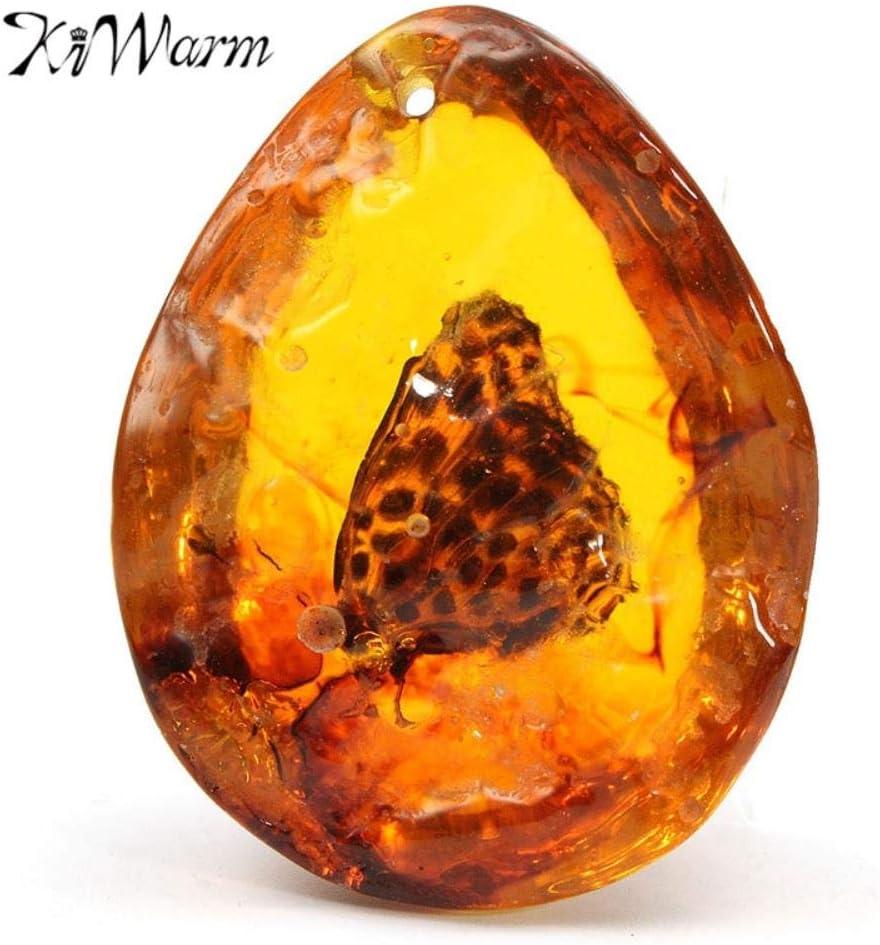 SDJH kiwarm 5 * 4 cm Hermosa Mariposa ámbar Insectos Piedra Colgante Collar de Piedras Preciosas para DIY joyería Colgante Manualidades