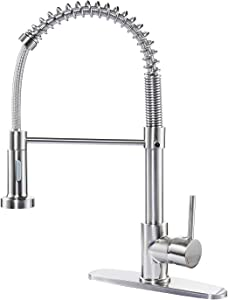 Kitchen Faucet with Columnar Water and Shower Mode, Mixed Hot and Cold Nozzle Water Single Handle Tap with 2x600mm 9/16 Inch Flexible Connection Hoses