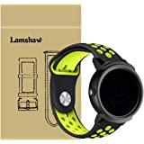 Lamshaw Ticwatch E バンド, シリカゲルバンド スポーツシリコンストラップリストバンド交換バンド柔らか運動型 対応 Ticwatch E 腕時計 (ブラック+イエロー)