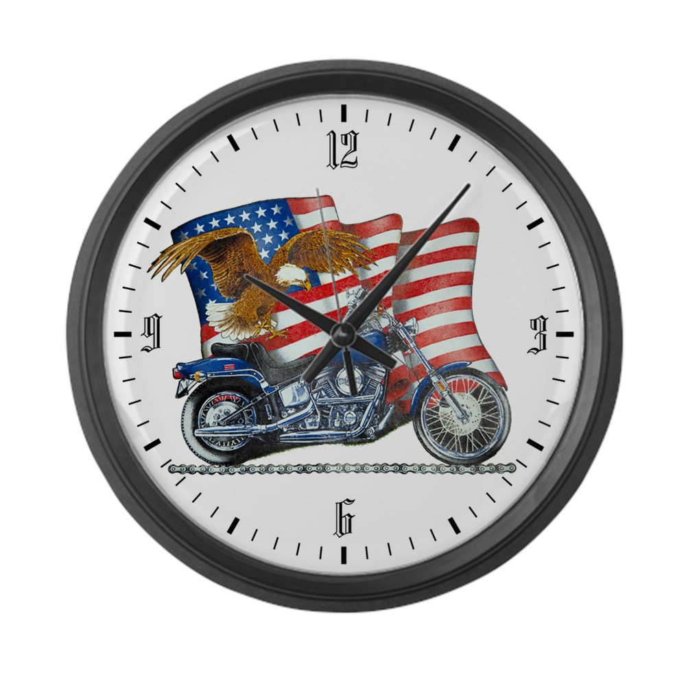 Large Wall Clock Motorcycle Eagle and US Flag by Royal Lion