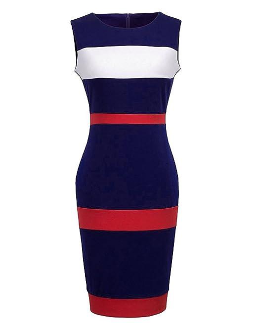 Kenancy Elegante Mujer Vestido de Lapiz Ajustado Delgado sin Mangas Vestidos de Fiesta Noche Bodycone Azul