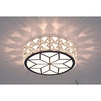 Led Small Crystal Ceiling Light Modern Creative Round White Acrylic Lampshade Ceiling Lamp For Bedroom Kitchen Loft Aisle Hall Balcony Stair Garden