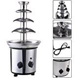 expert store VD-51743HW 4 Tiers Commercial Stainless Steel Hot Luxury Chocolate Fondue Fountain New, 20'' 5'' 5'' Sliver