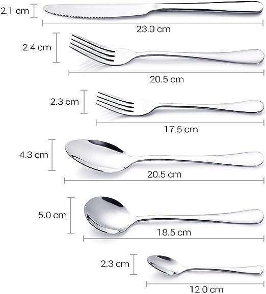 MIU COLOR/® 8 St/ück Men/ümesser Dessertmesser Tafelmesser aus Edelstahl 23cm