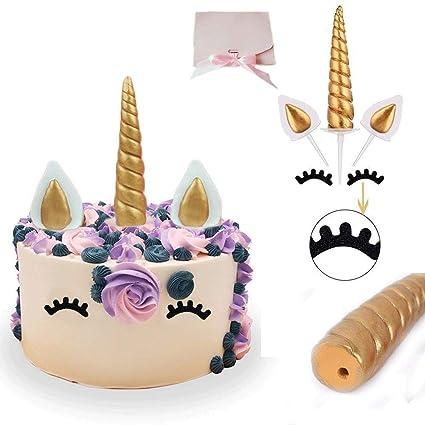 Decoración para tarta de cumpleaños de unicornio, cuerno unicornio reutilizable, Orejas y Pestañas Party