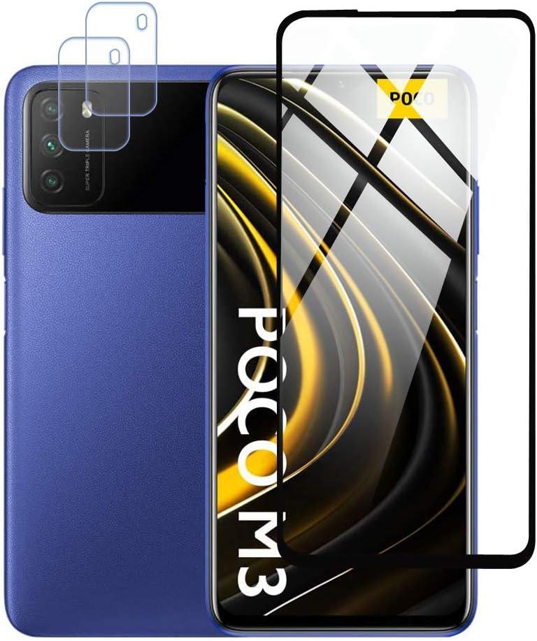 Protector de Pantalla para Xiaomi POCO M3 Cristal Templado Protector de lente de cámara para POCO M3 Cámara, [Cobertura máxima][Sin Burbujas] HD Cristal Vidrio Templado -Black