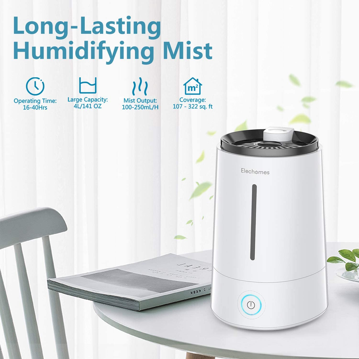 ELECHOMES Ultrasonic Cool Mist Humidifier Top Fill Humidifiers 4L Vaporizer for Bedroom Baby Home Office Large Room with Aromatherapy and Filter, Last up to 40 Hours, Whisper-Quiet