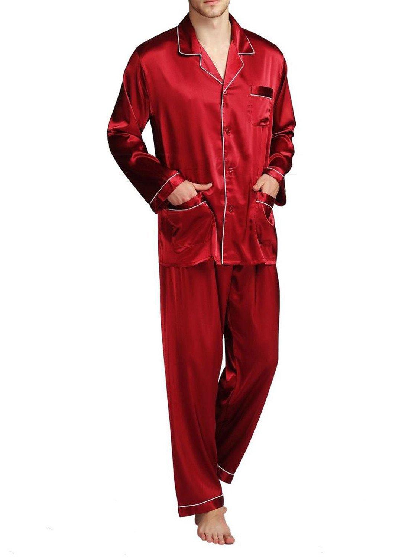 Orcan Bluce Mens Silk Satin Pajamas Set Sleepwear Loungewear S,M,L,XL,XXL,XXXL,4XL Plus Size Big And Tall Wine 4XL