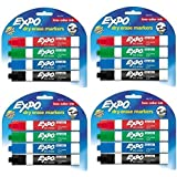 Expo 80174 Low Odor Chisel Point Dry Erase Marker Pack, Designed for Whiteboards, Glass and Most Non-Porous Surfaces, 4 Assorted Color Markers, Pack of 4 Blisters