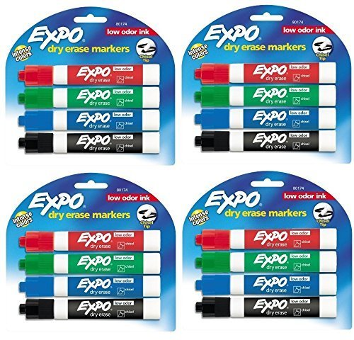 Expo Low Odor Chisel Tip Dry Erase Markers 4 Colored Markers 80174 Pack Of 4 Total 16 Markers