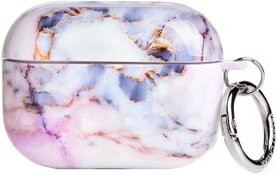 Velvet Caviar AirPods Pro Case Cute Cover for Girls with Keychain - Cool Protective Hard Cases Compatible with Apple Airpod Pro (White Marble)